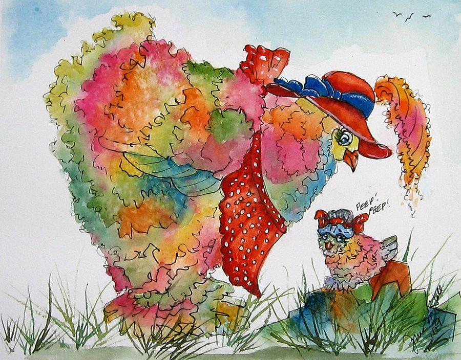 Chicken Painting - Red Hat Chick Cutie by Gina Hall