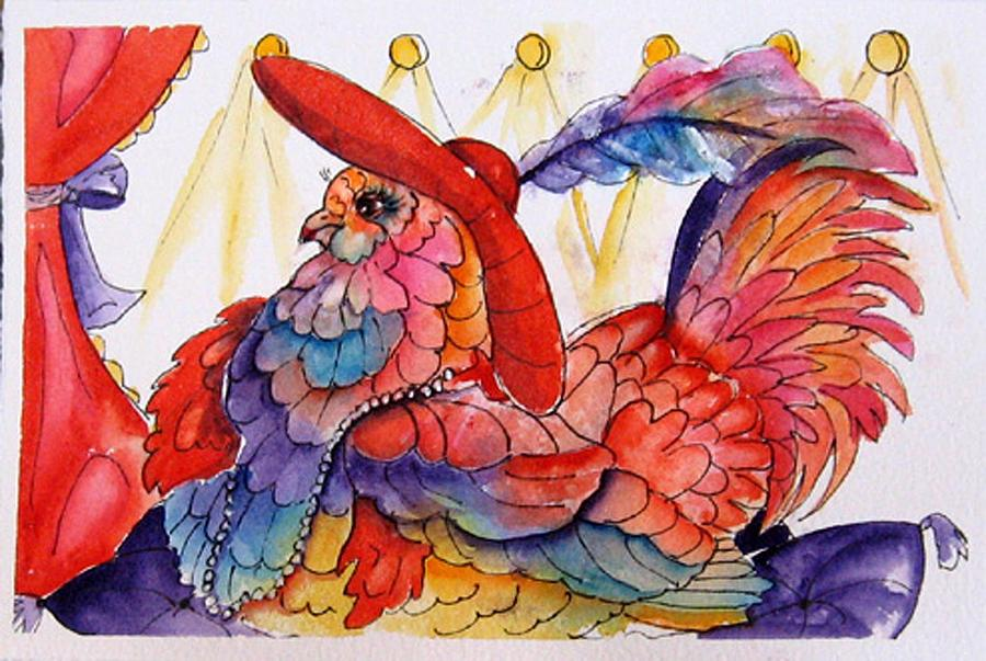Chicken Painting - Red Hat Chick Fashion by Gina Hall