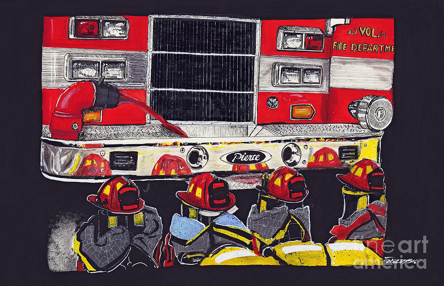 Fire Engine Painting - Red Hat Parade by Kevin Scott Jacobs