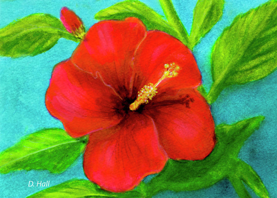 Hibiscus Painting - Red Hawaii Hibiscus #238  by Donald k Hall