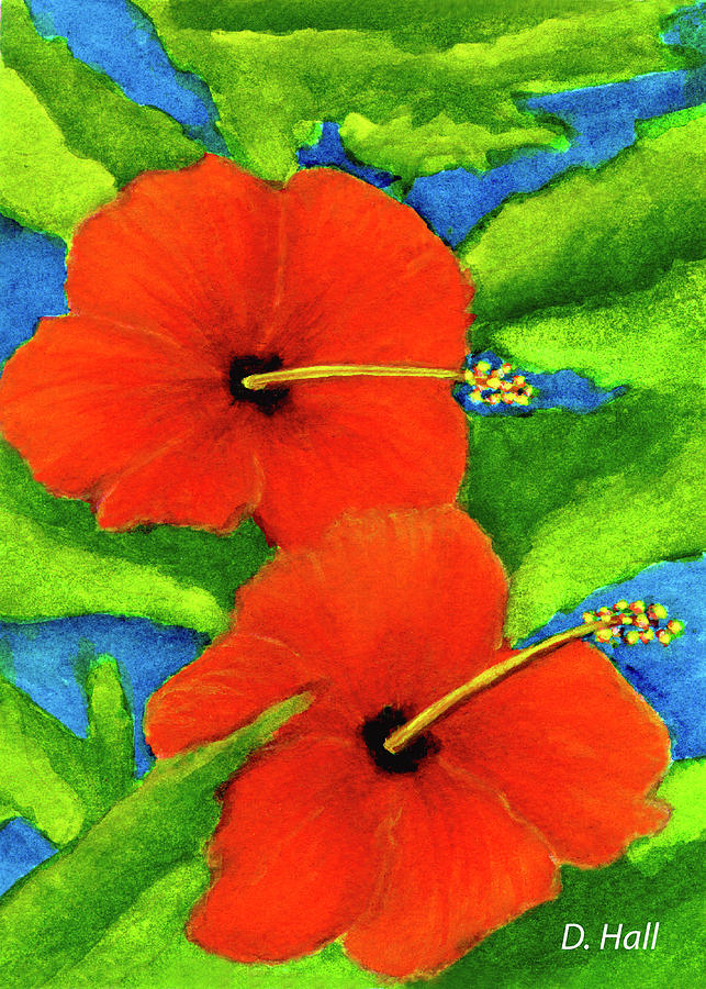 Red Hibiscus Painting - Red Hawaii Hibiscus Flower #267 by Donald k Hall