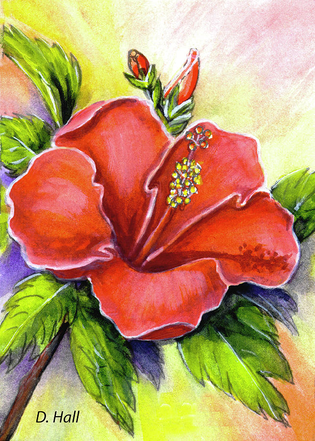 Hibiscus Painting - Red Hawaii Hibiscus Flower #301 by Donald k Hall