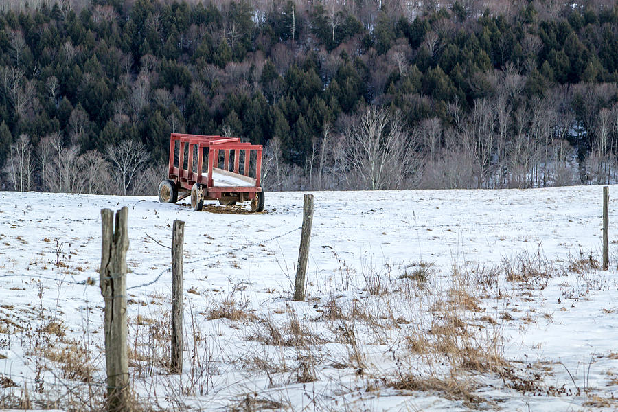 Red Photograph - Red Hay Wagon by Frank Morales Jr