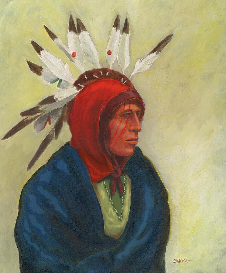 Red Headdress Mixed Media