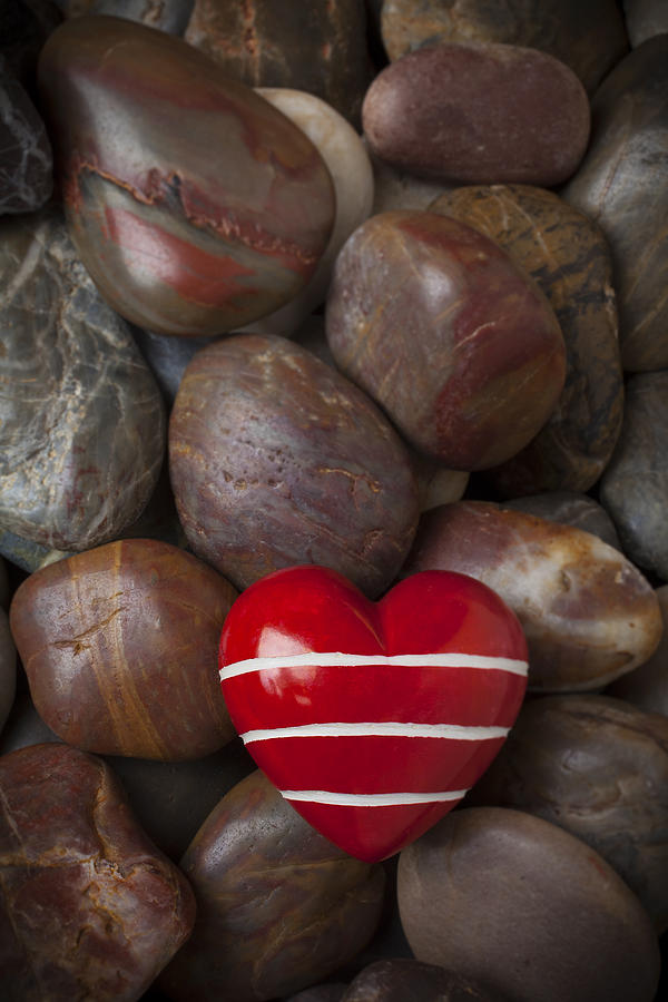 Red Heart Hearts Photograph - Red Heart Among Stones by Garry Gay