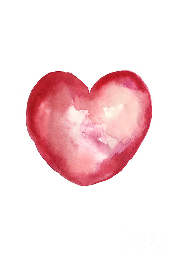 Valentine's Day Painting - Red Heart Valentines Day Gift by Joanna Szmerdt