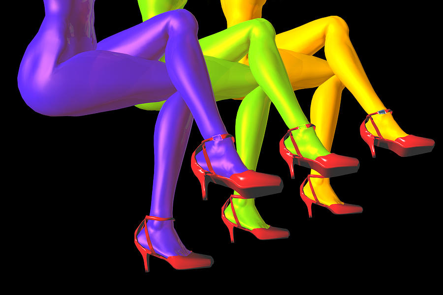 Color Digital Art - Red High-heeled Shoes by Carol and Mike Werner