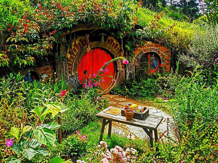 Hobbiton Photograph - Red Hobbit Door by Kathy Kelly & Red Hobbit Door Photograph by Kathy Kelly