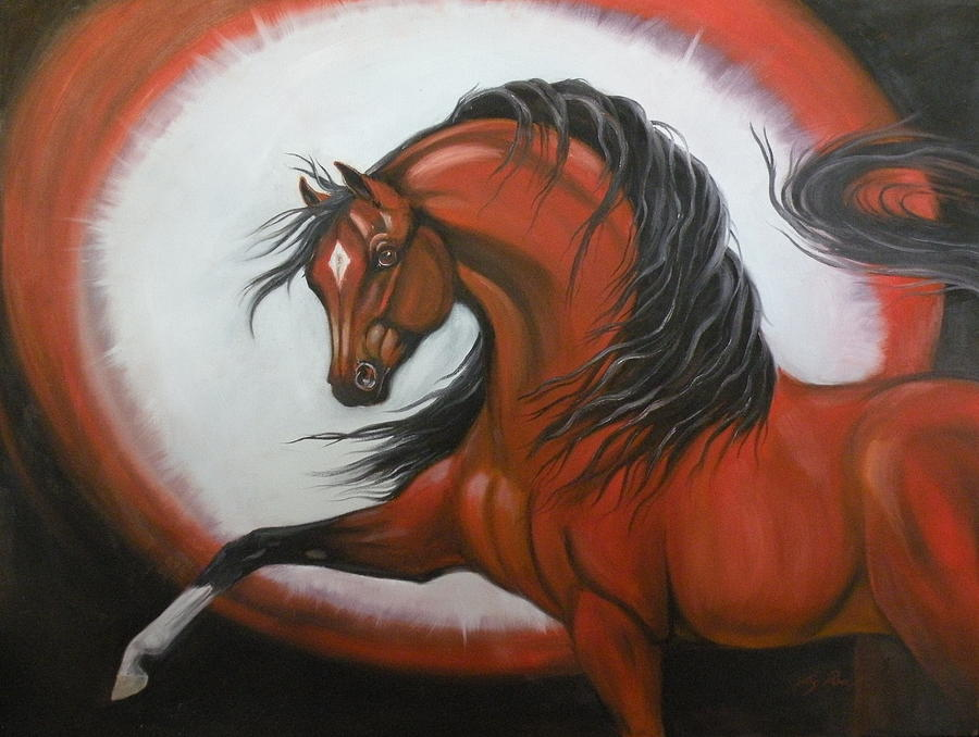 Horses Painting - Red Horse Fantasy by Liz Rose