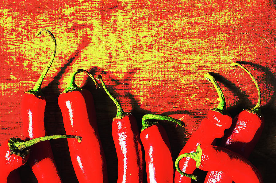 Wooden Photograph - Red Hot Chili Peppers  by Irina Safonova