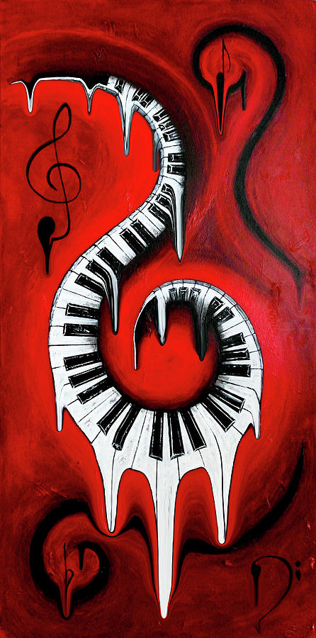 Melt Mixed Media - Red Hot - Swirling Piano Keys - Music In Motion by Wayne Cantrell
