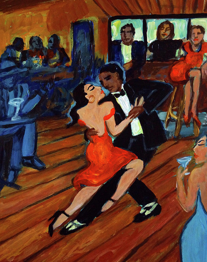 Latin Dancing Painting - Red Hot Tango by Valerie Vescovi