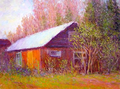 Red House Painting by Julia Lesnichy
