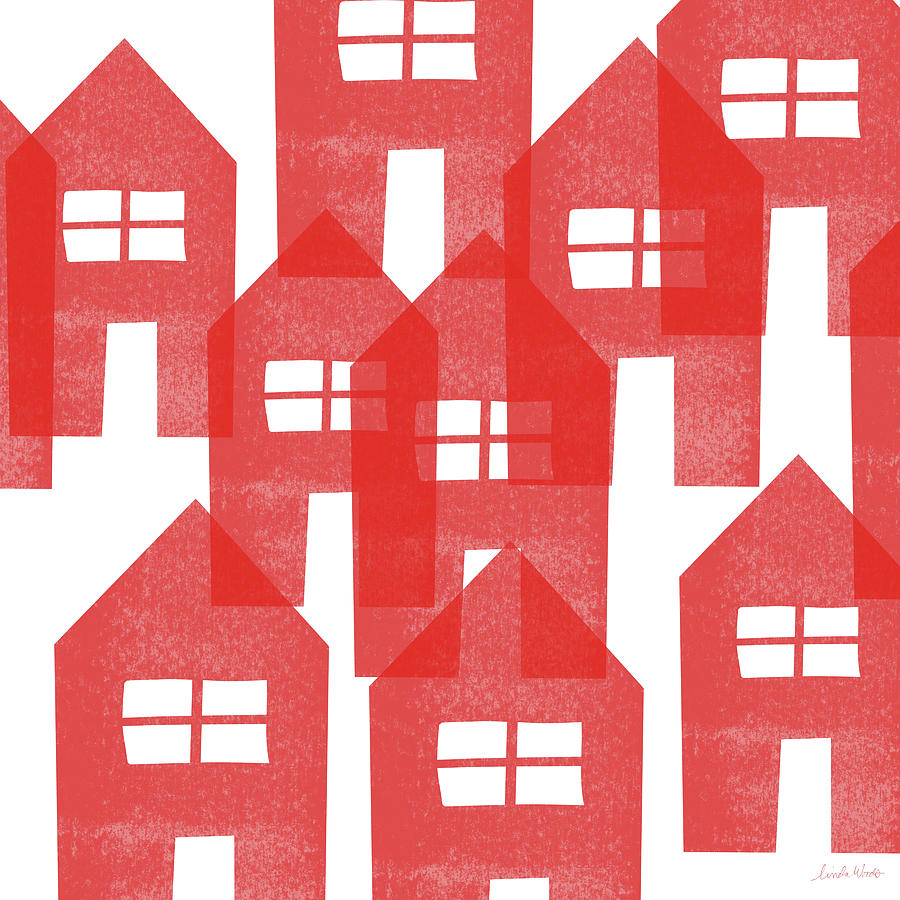 Houses Mixed Media - Red Houses- Art By Linda Woods by Linda Woods