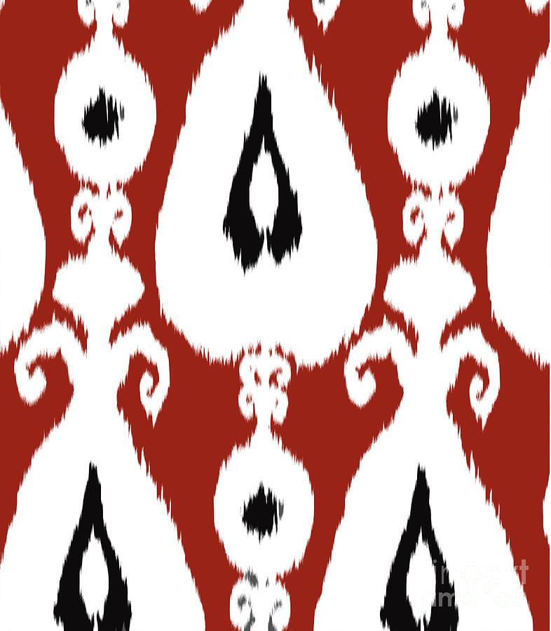 Red Ikat Wall Art Tapestry - Textile by Ramneek Narang