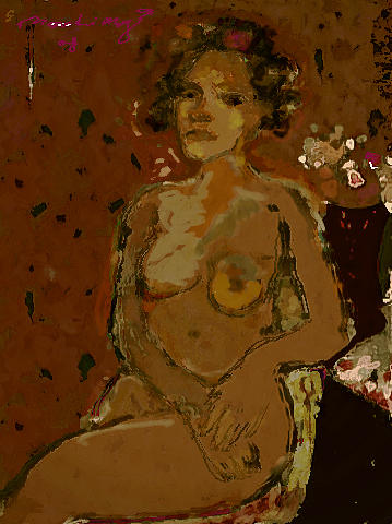 Nude Painting - Red Interior by Noredin Morgan