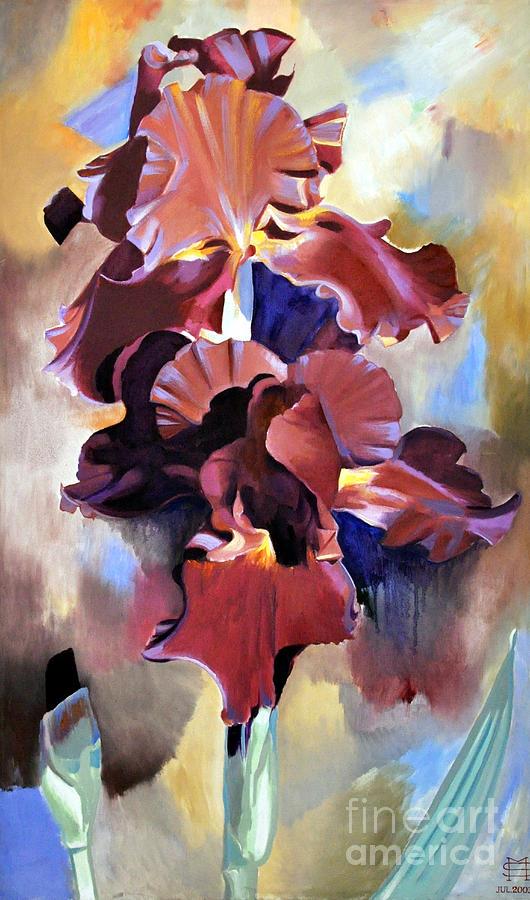 Flowers Painting - Red Irises by Michael Stoyanov