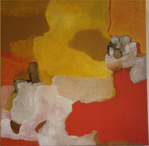 Abstract Landscape Painting - red by Judith Grunberger
