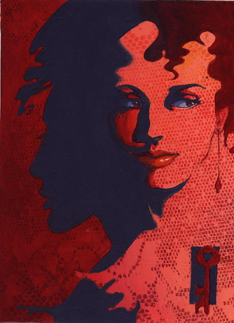 Women Painting - Red Lace --shadow Talk -- Sold by Sonja Donnelly