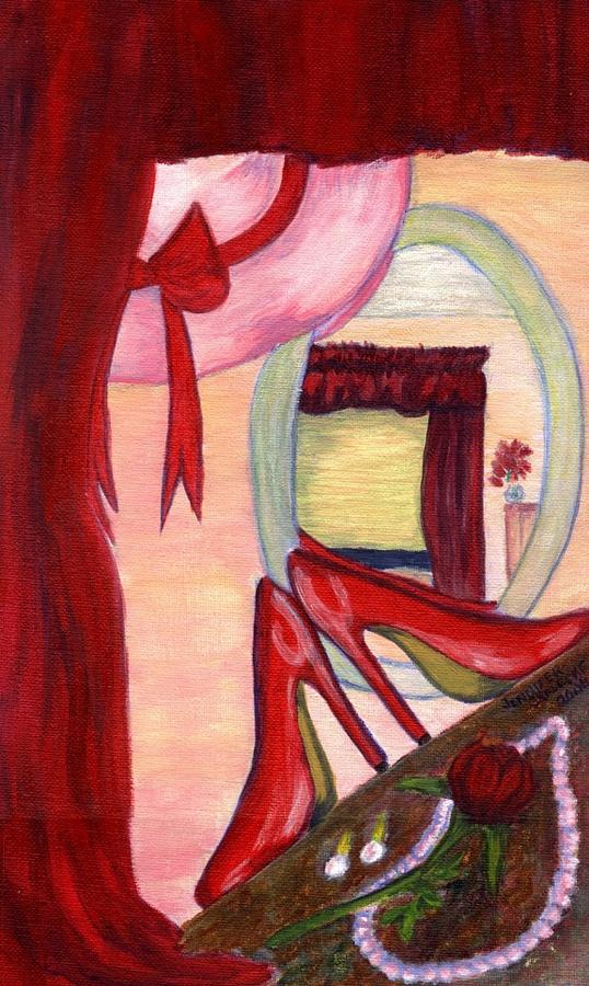 Red Painting - Red Lady Room - Www.jennifer-d-art.com by Jennifer Skalecke