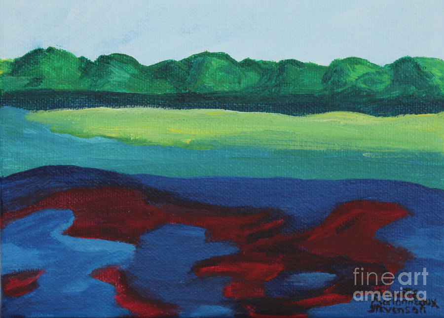 Lake Painting - Red Lake by Annette M Stevenson