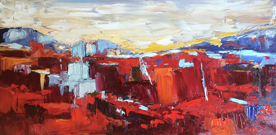 Reds Painting - Red Landscape by NatikArt Creations