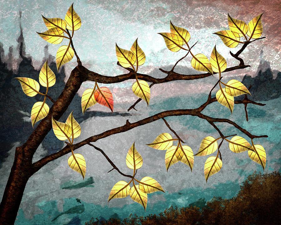 Compositing Digital Art - Red Leaf by Ken Taylor