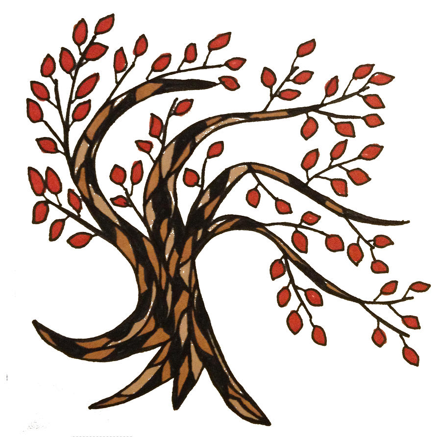 Trees Drawing - Red-leafed Tree by Baya Clare