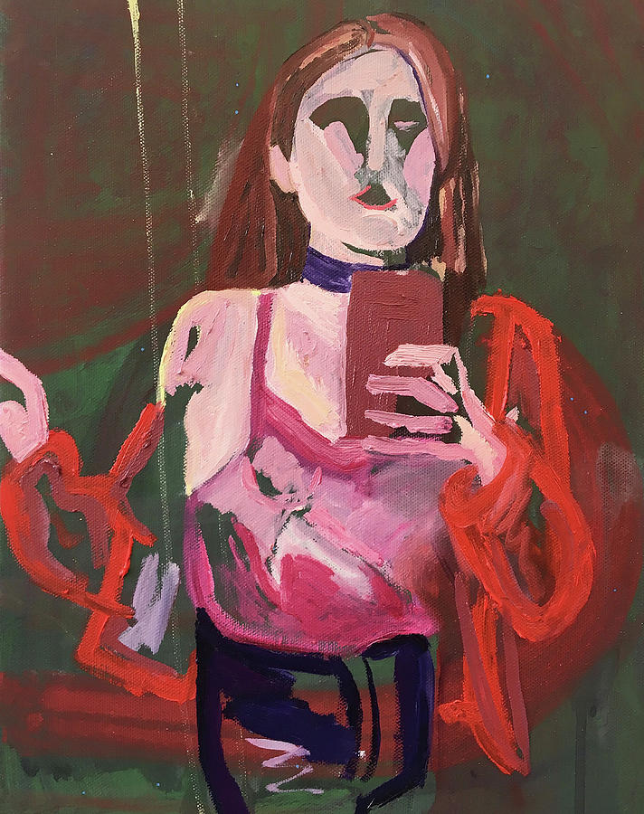 Female Painting - Red Leather by Sarah Oakley