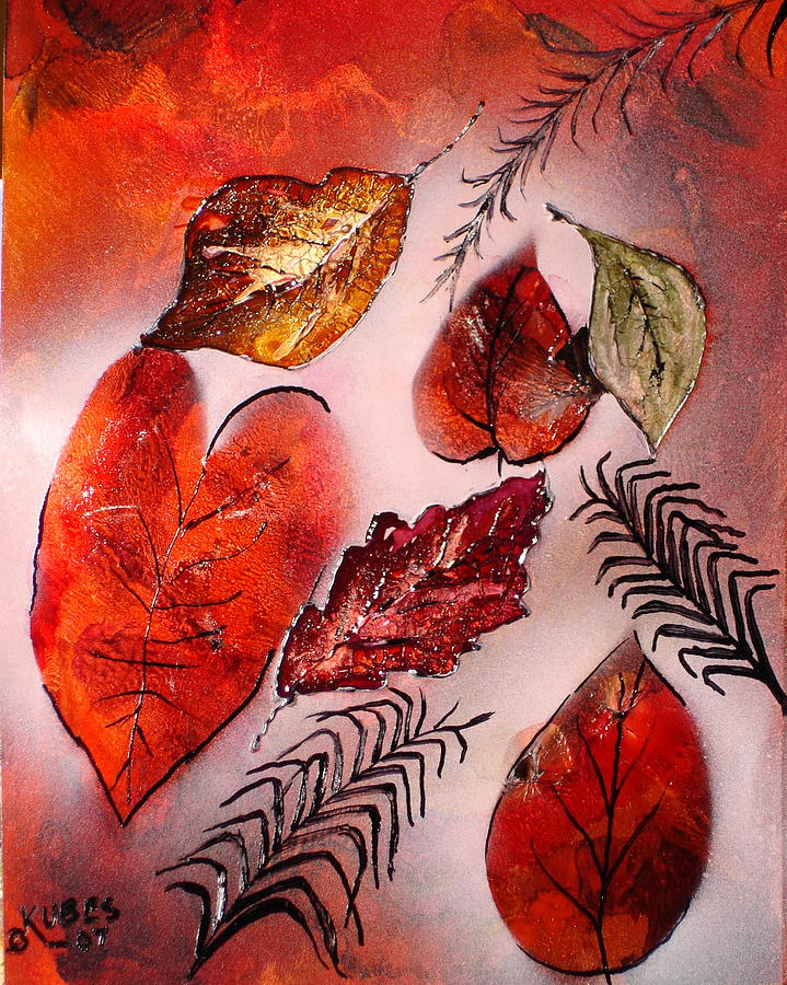 Leaf Painting - Red Leaves by Susan Kubes