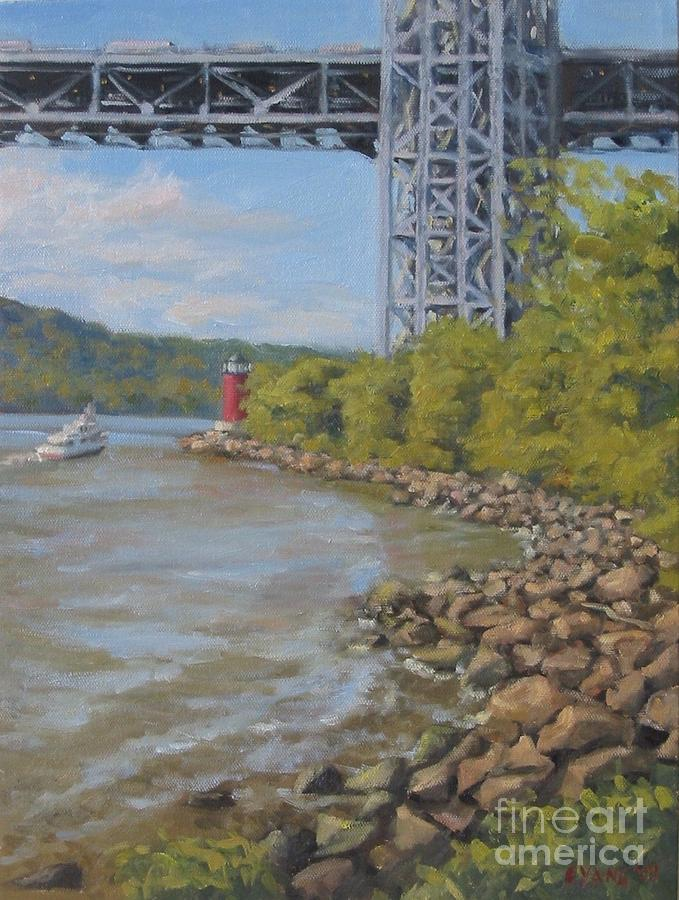 Landscape Painting - Red Lighthouse At George Washington Bridge by Ella Yang