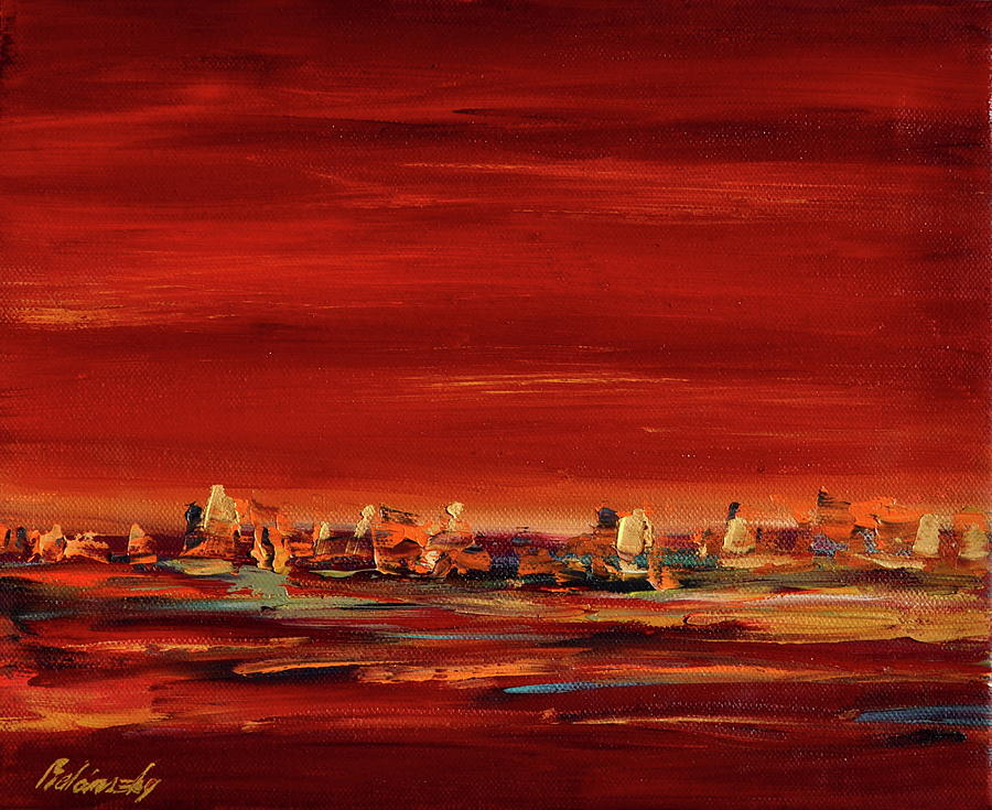 Red Painting - Red Lights by Beata Belanszky-Demko