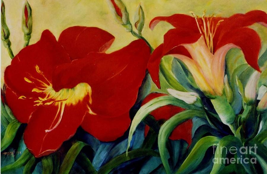 Red Lily Painting by Marta Styk