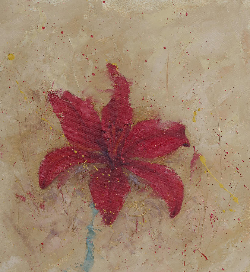 Red Painting - Red Lily by Monica Burnette
