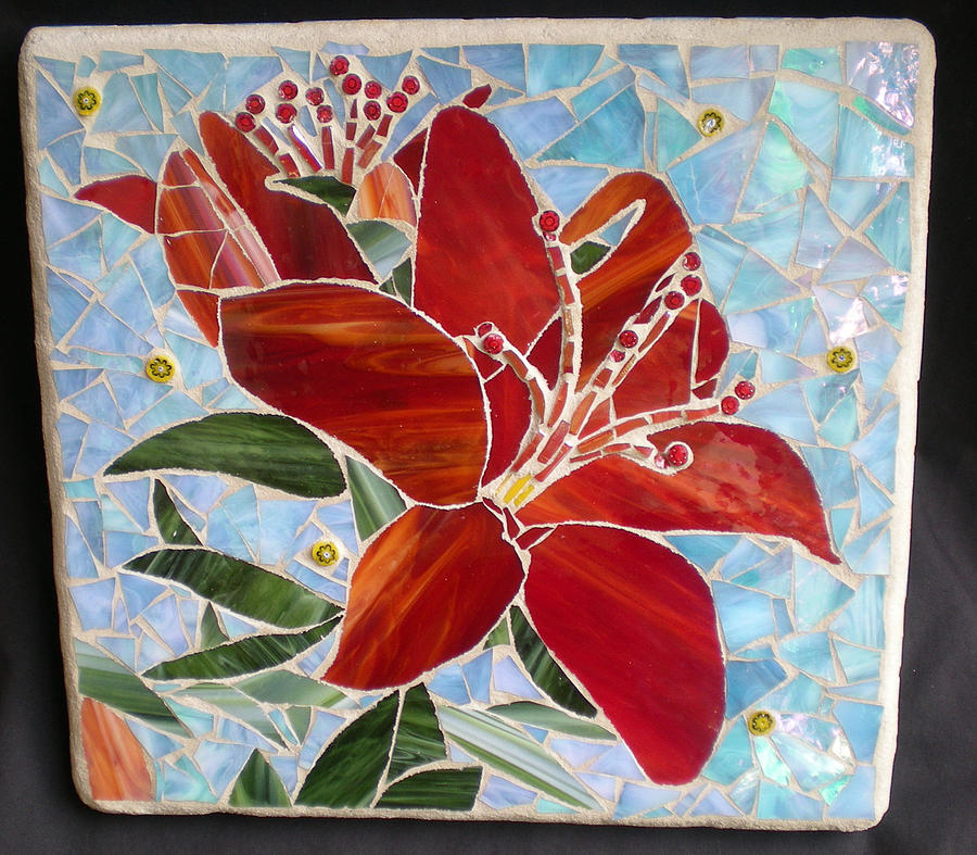Red Lily Mosaic Wall Art Mixed Media By Kathleen Stewart