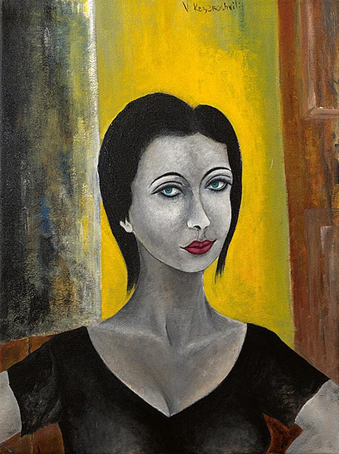 Portrait Painting - Red Lips by Vladimir Kezerashvili
