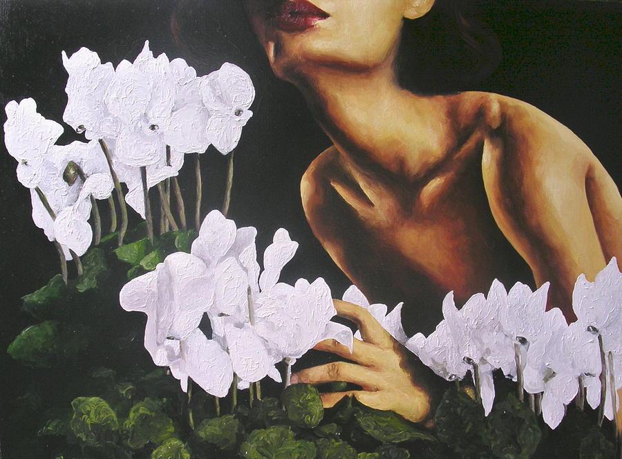 Nude Painting - Red Lips White Flowers by Trisha Lambi