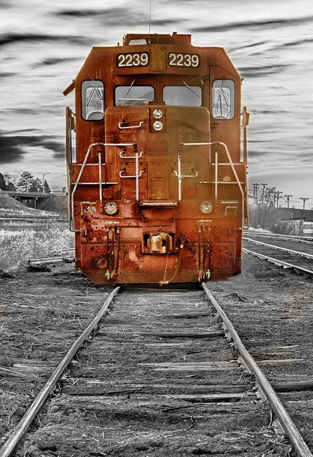 Railroad Photograph - Red Locomotive by James BO  Insogna