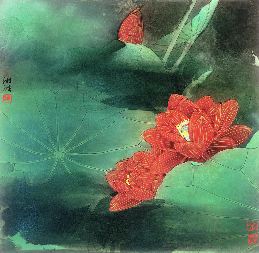 Red Lotus Flower Painting By Chen Xiangbo