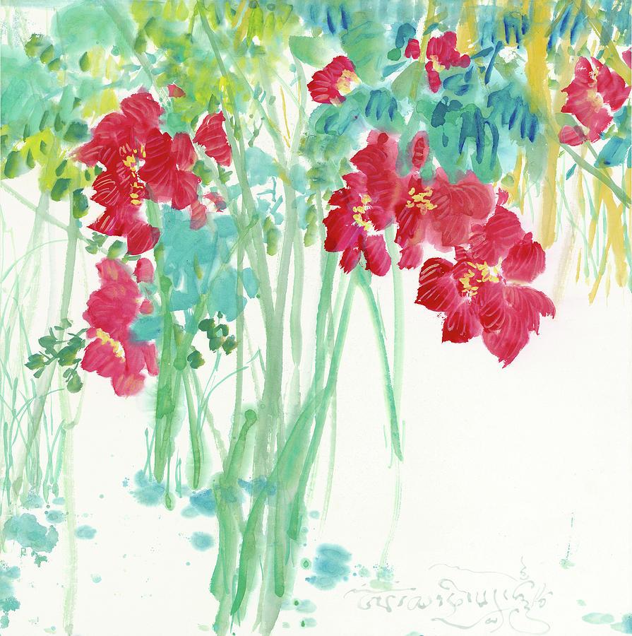 Red Lotus Flower Painting By Xu Jianping