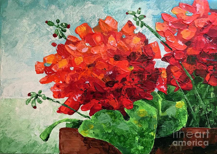 Geranium Painting - Red Love by Annie Troe