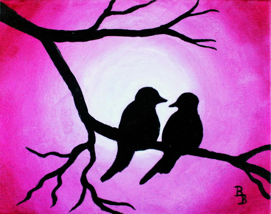 Love Birds Painting - Red Love Birds Silhouette by Bob Baker