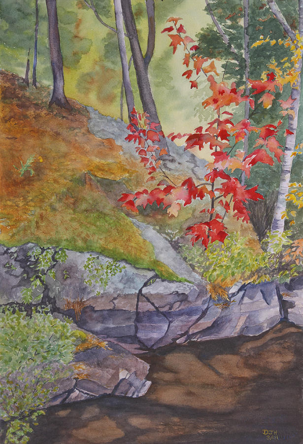 Red Painting - Red Maple Leaves by Debbie Homewood