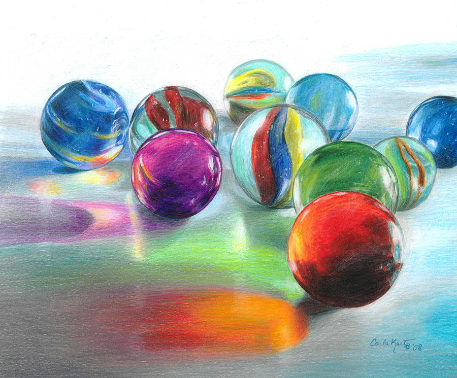 Marbles Drawing - Red Marble Reflections by Carla Kurt