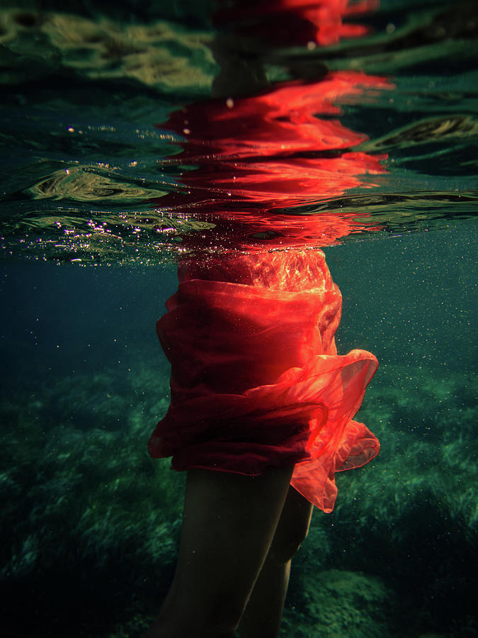 Swim Photograph - Red Mermaid by Gemma Silvestre