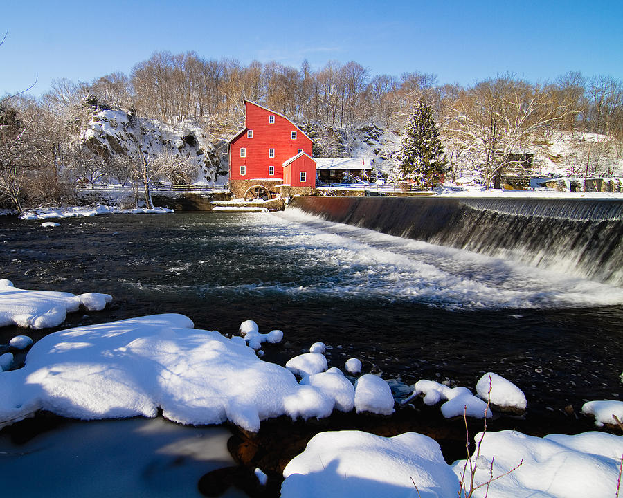 Blue Sky Photograph - Red Mill In Winter Landscape by George Oze