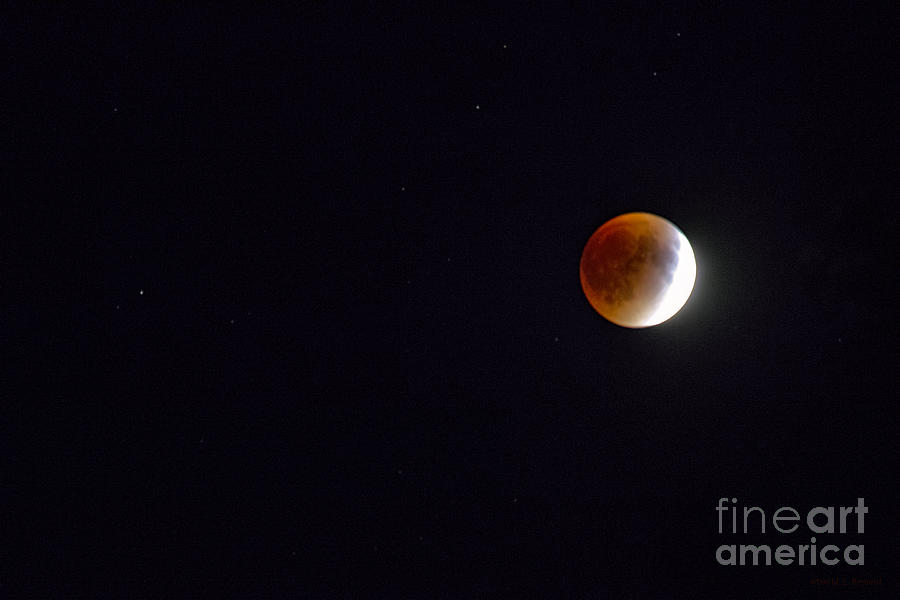Red Moon, Stars And Planet Photograph