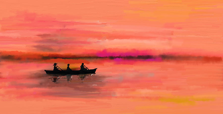 Ocean Painting - Red Morning Spin by Angela Stanton