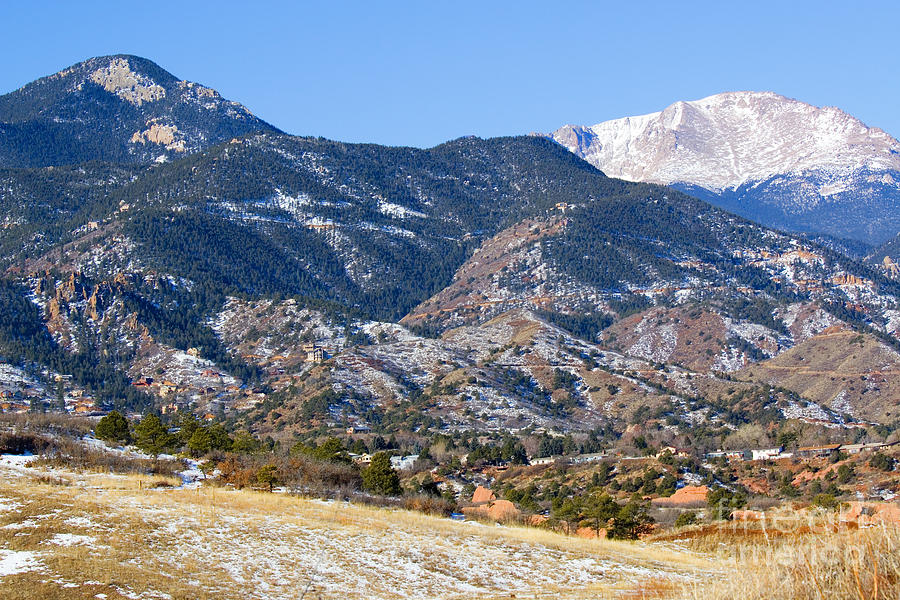 Red Mountain And Snow Covered Pikes Peak Photograph