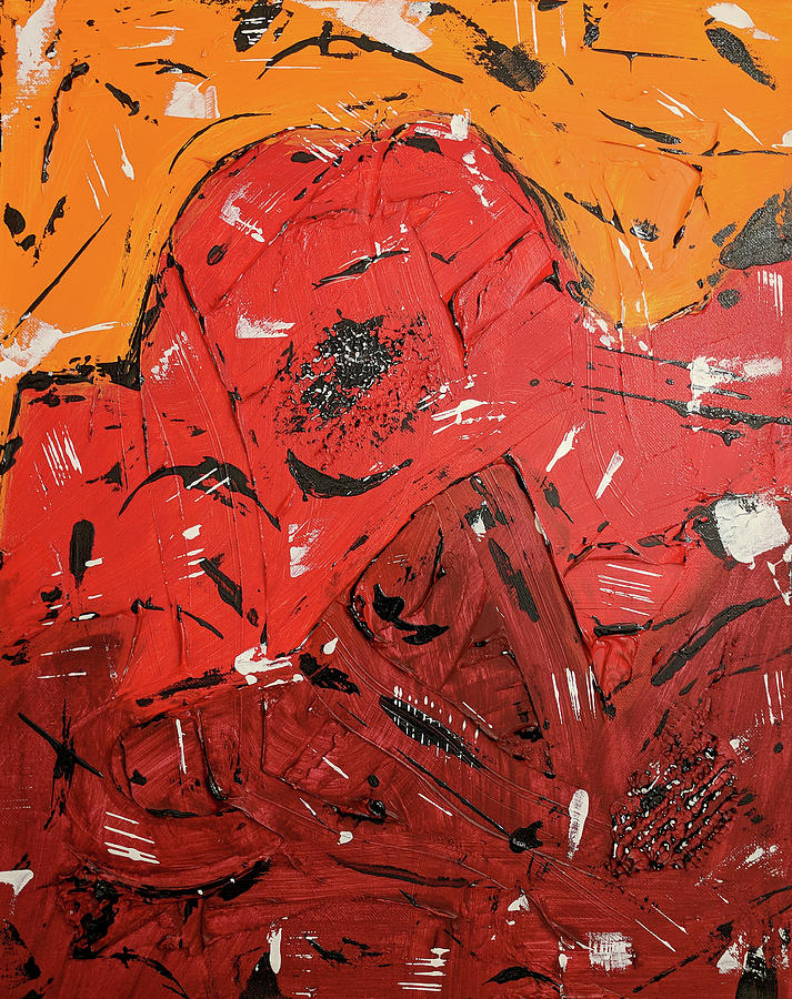 Abstract Painting Painting - Red Mountain by Trisha Pena